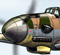 Detailed drawing of Messerschmitt BF-109f for World War II museum