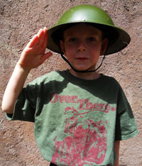 Boy with WWI t-shirt showing what he's learned
