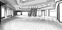 Technical rendering of mall scene